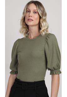 Blusa Feminina Alongada Decote Redondo Manga Bufante Curta Verde Militar