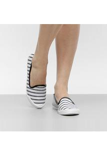 Slipper Moleca Listrado Feminino - Feminino-Branco+Preto
