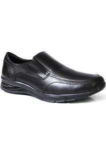 Sapato Social Masculino Confort Solado Gel Com Elastico - Couro - Masculino-Preto