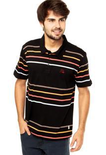 Camiseta Polo Quiksilver Church Preta
