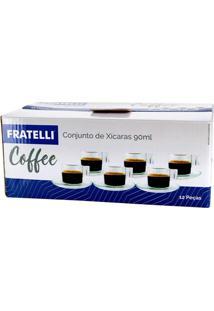 Conjunto De Xícaras De Café Fratelli Coffee Em Vidro 12 Peças 90Ml