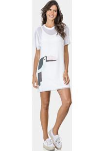 de9794dd4 Lezalez. Vestido Tela Com Bordado E Forro Branco Off White - Lez ...