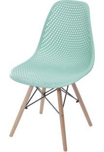 Cadeira Eames Furadinha Cor Tiffany Com Base Madeira - 55986 Sun House