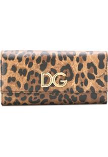Dolce & Gabbana Carteira 'Continetal' Animal Print - Marrom