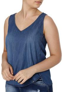 Blusa Regata Jeans Feminina Cativa Azul
