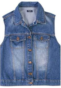Colete Jeans Feminino Com Detalhe De Botão