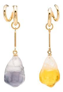 Panconesi Par De Brincos De Prata Banhado A Ouro Com Cristais - Multicoloured