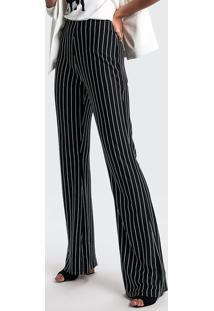 ede70d36d ... Crepe Reta Pantalona Alfaiataria Zíper Feminina Dzarm Fashion Aberta Em  De. Ir para a loja  Calça Em Tecido De Viscose Listrada