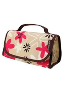 Necessaire Rocambole Estampada Marrom/Floral Jacki Design