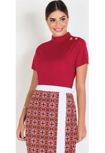 Blusa Bordô Com Botões Moda Evangélica
