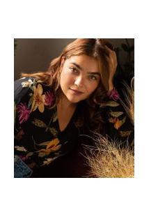 Blusa Floral Com Decote V Curve & Plus Size | Ashua Curve E Plus Size | Preto | G