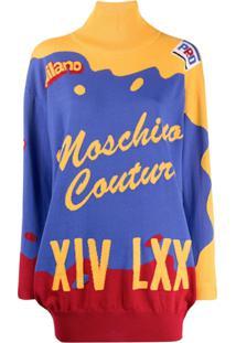 Moschino Short Intarsia Knitted Dress - Azul