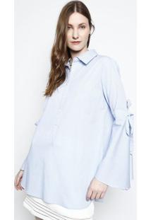 Camisa Com Vista - Azul Claro & Branca- Ahaaha