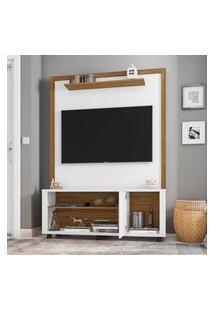 Estante Home Smart Para Tv Até 55 Pol Móveis Bechara Branco/Cinamomo