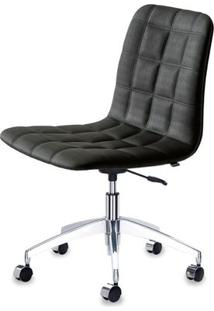 Cadeira Quadra Assento Linho Preto Com Base Rodizio Em Aluminio - 46918 - Sun House