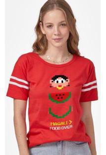 Camiseta Athletic Tuma Da Mônica Magali Food Over Feminina - Feminino-Vermelho