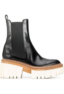 Stella Mccartney Ankle Boot Com Plataforma - Preto