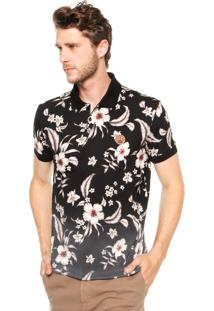 Camisa Polo Sommer Floral Preta