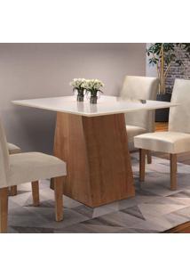 Sala De Jantar Completa Com Mesa E 4 Cadeiras Arezo Siena Móveis Chocolate/Suede Animale