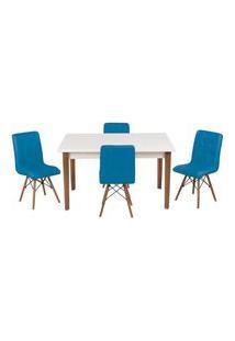 Conjunto Mesa De Jantar Luiza 135Cm Branca Com 4 Cadeiras Gomos - Turquesa