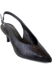 Scarpin Chanel Cobra Emporionaka Baixo Feminino - Feminino-Preto
