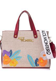 Bolsa Alice Monteiro Bordado Floral - Vermelha