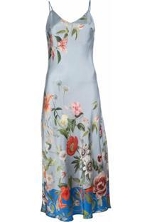 Madison.Maison Vestido Lynn De Seda Com Estampa Floral - Azul
