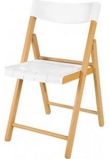 Cadeira Potenza Dobravel Natural Com Plastico Branco - 20566 Sun House