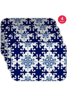 Jogo Americano Love Decor Wevans Ladrilho Blue Kit Com 4 Pçs