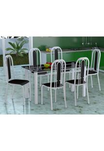 Conjunto De Mesa Com 6 Cadeiras Granada Branco E Preto Liso Vd