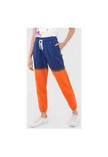Calça De Moletom Polo Ralph Lauren Jogger Tie Dye Azul-Marinho/Laranja