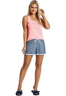 Pijama Recco Reg.Viscose Fluor Moletinho Feminino - Feminino-Rosa+Marinho