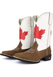 Bota Country Texana Sapatofran Bico Quadrado Canadá Branca