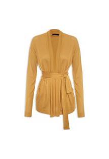 Cardigan Feminino Tricot Transpassado - Amarelo