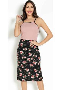 Vestido Floral Rosa Com Fendas Nas Laterais42