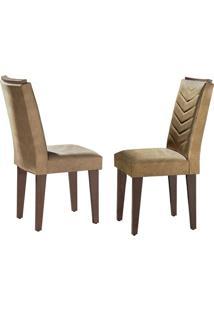 Cadeira Londrina Veludo Creme Café