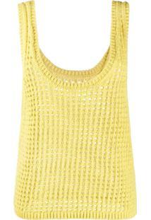 Nanushka Blusa Perfurada De Tricô - Amarelo