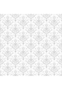 Papel De Parde Sunset Adesivos Arabesco Cinza E Branco Coroa - Rolo 6,00 0,50 M