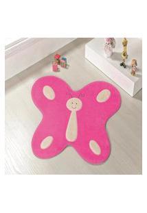 Tapete Formato Feltro Antiderrapante Borboleta Feliz Pink