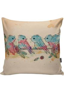 Capa De Almofada Little Birds- Bege & Azul Claro- 45Stm Home