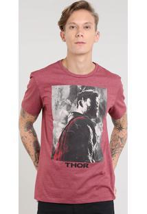 Camiseta Masculina Thor Manga Curta Gola Careca Vinho