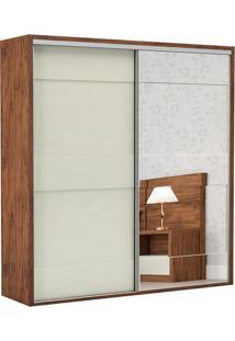 Guarda Roupa Tw202E 2 Portas Com Espelho Nobre Fosco/Off White