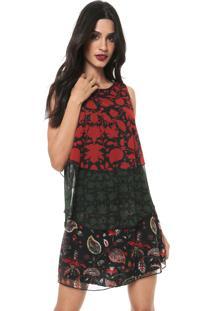 Vestido Desigual Curto Babados Vermelho/Preto
