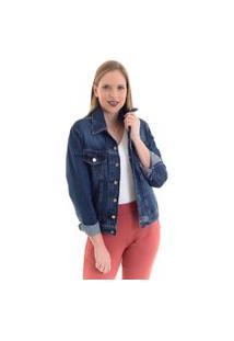 Jaqueta Jeans Kassis Alongada Azul