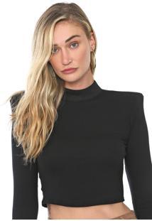 Blusa Cropped Lança Perfume Lisa Preta