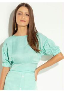 Blusa Quintess Verde Com Zíper