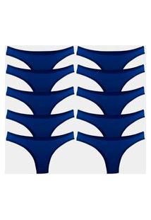 Kit 10 Calcinhas Tanga Try Basics Algodão Cotton Básica Lisa Moda Lingerie Azul