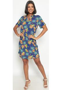 Vestido Floral- Azul & Verde Claro- Vip Reservavip Reserva