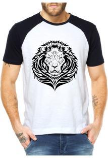 Camiseta Criativa Urbana Leão Tribal Branco