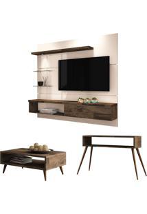 Painel Tv Ores Com Mesa De Centro Lucy E Aparador Quad Deck/Off White - Hb Mã³Veis - Marrom - Dafiti